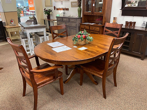 "Wormy Maple Single Pedestal 48"" Round Extension Table and Chair Set (Michael's)"