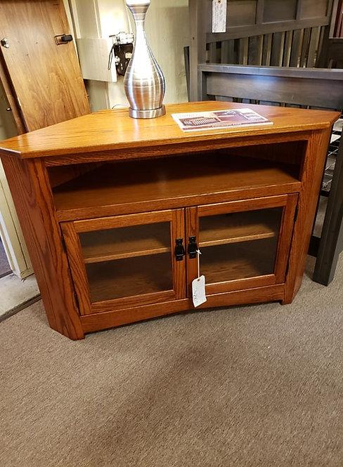 Oak Two Door Corner TV Stand with Glass (Michael's Cherry)