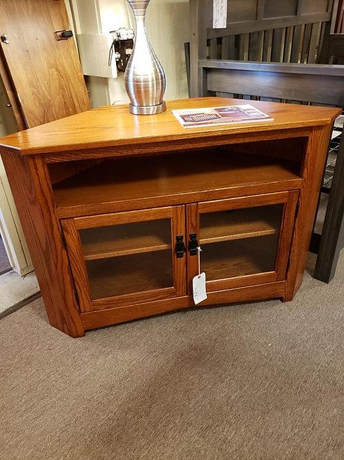 Oak 2 Door Corner TV Stand with Glass (Michael's Cherry)