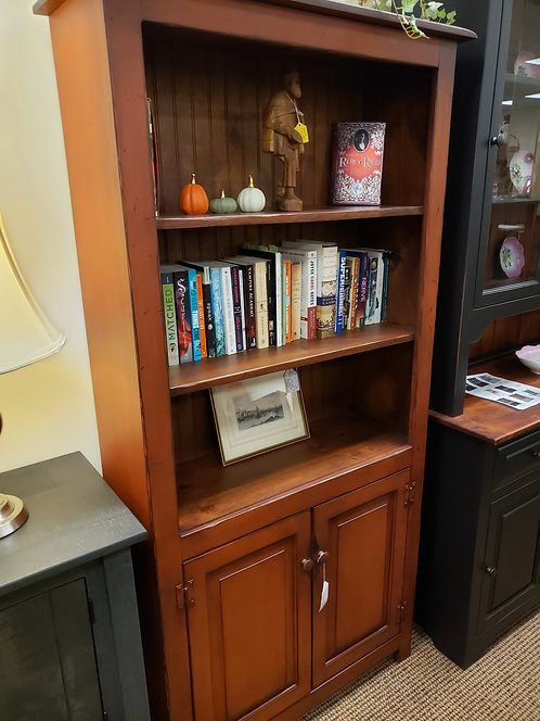 CLOSEOUT Pine Six Foot Bookcase with Doors on the Bottom