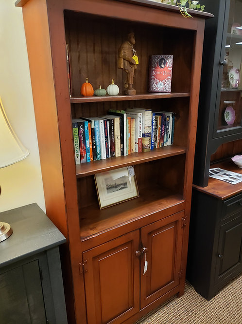 CLOSEOUT Pine 6 Foot Bookcase with Doors on the Bottom