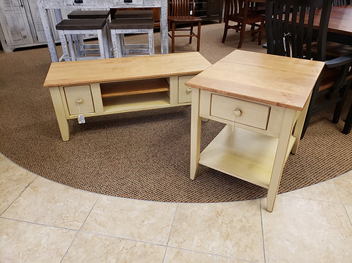 Pine Coffee and End Table Set with Wormy Maple Top (Beige and Natural)