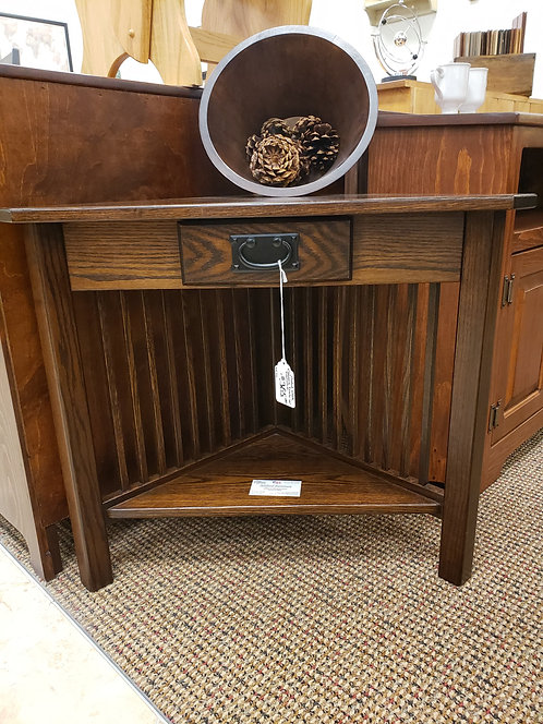 Oak Corner Table with Drawer (Rich Tobacco)
