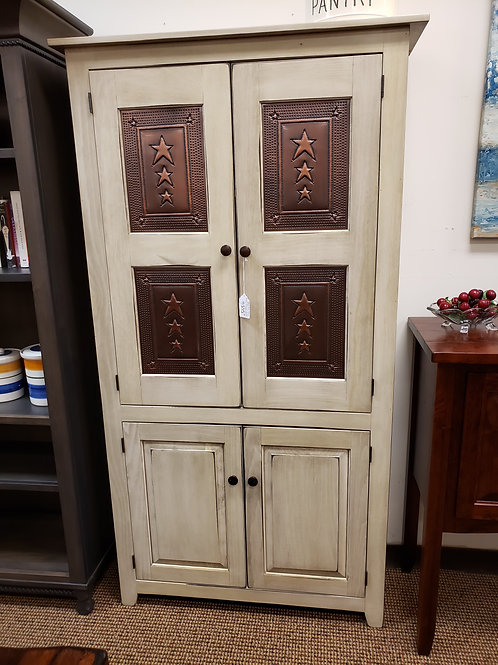Pine 4 Door 6 foot Pantry Cabinet with Tin (Antique White)