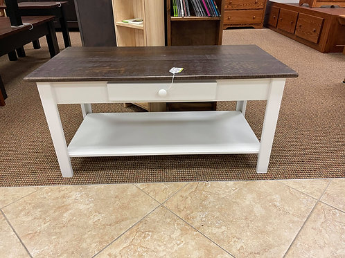 Poplar with Rustic Pine Top 1 Drawer Coffee Table (Rich Tobacco and White)