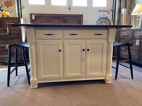 Brown Maple Jefferson City Kitchen Island (Cocoa and Country White)