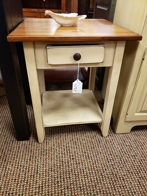 Pine Square End Table with Wormy Maple Top (Cream and Michael's)