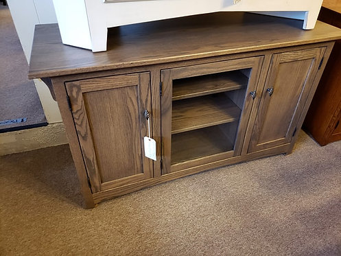 Oak Three Door Media Cabinet with Glass (Smoke)