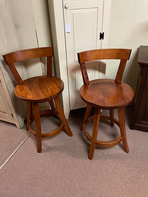 """Set of 2 Maple """"Turnstone"""" Low Back Barstools with Swivel (Michael's)"""