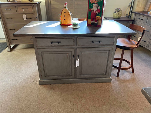 Brown Maple Antiqued Traditional Kitchen Island (Antique Slate and Chelsea Grey)