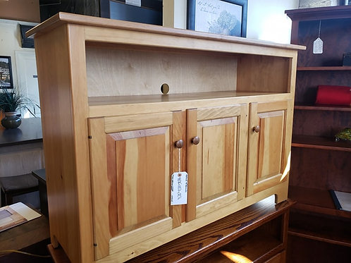Pine with Wormy Maple Top Three Door TV Stand (Natural)