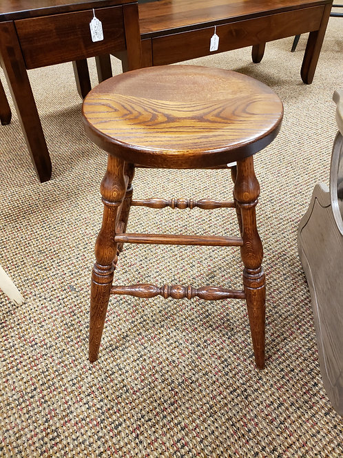 """Oak 24""""H Turned Leg Stool with Scoop Seat (Michael's)"""