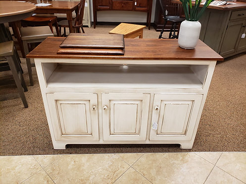 Poplar 3 Door TV Stand (Legacy Cocoa White and Michael's Cherry)