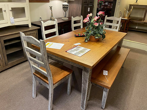 Oak Reclaimed Barnwood Table and Chair Set with Bench (Seely and Vandyk White)