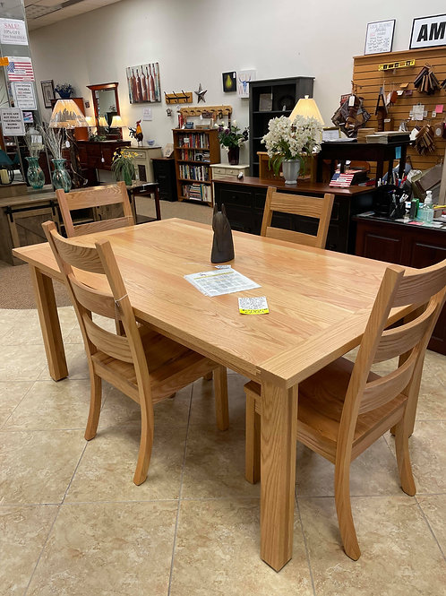 Rustic Oak Western Plank Solid Top Table and Chair Set (Natural)