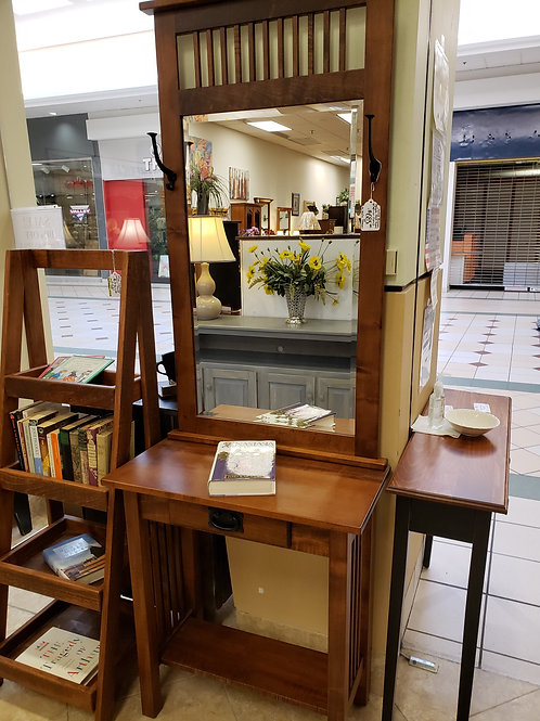 Brown Maple Hall Table with Mirror (2 Pieces) (Michael's)