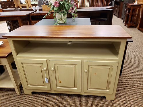 "Pine 46"" TV Stand with Wormy Maple Top (Beige and Michael's)"