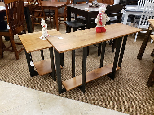 """Brown Maple """"Reno"""" Style Sofa and End Table Set (Seely with Steel Base)"""