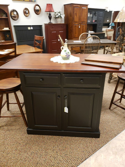 Pine and Wormy Maple Kitchen Island (Black and Bing Cherry)