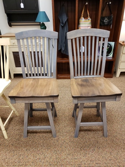"Brown Maple ""Empire"" Breakfast Stool Set of 2 w/ Swivel (Pewter and Cappuccino)"