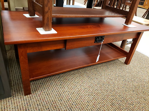 Brown Maple Large Mission Coffee Table with Drawer and No Lathe (Mission Maple)