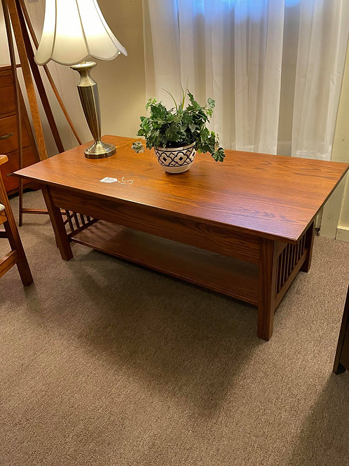 Oak Mission Lift Top Large Coffee Table with Shelf (Michael's)