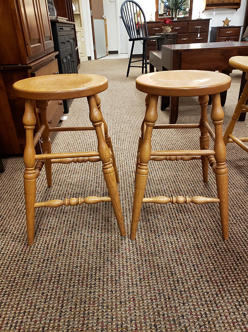 Set of 2 Oak Turned Leg Stools with Scoop Seat (Golden)