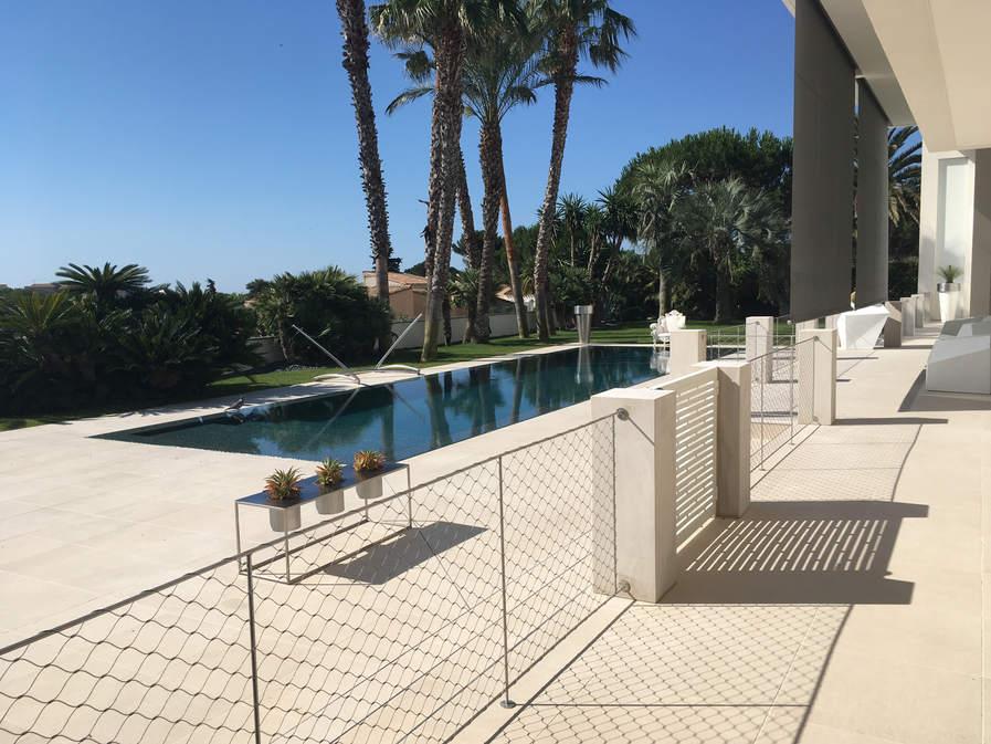 protection piscine en filet inox