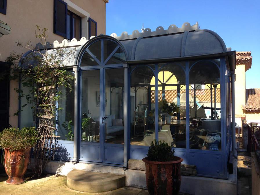 veranda en acier, toiture zinc