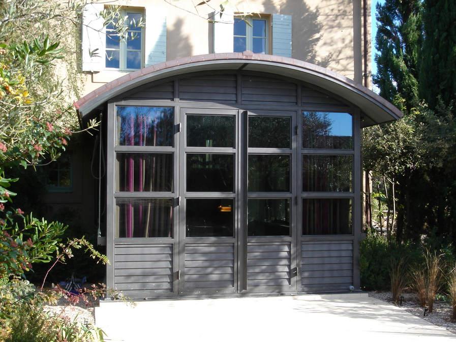 veranda toiture cuivre cintrée