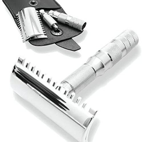 Merkur Open Tooth Travel Safety Razor, Chrome Plated, In Leather Case