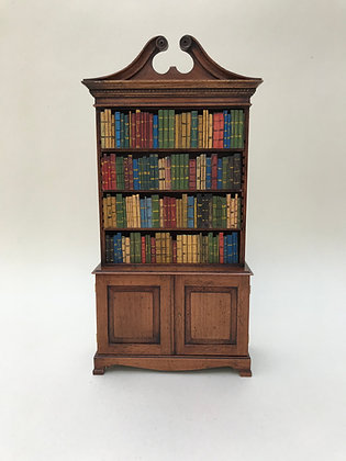 Open Display Cabinet with Swan Neck Pediment