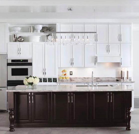 Transitional White Kitchen with Dark Walnut Island