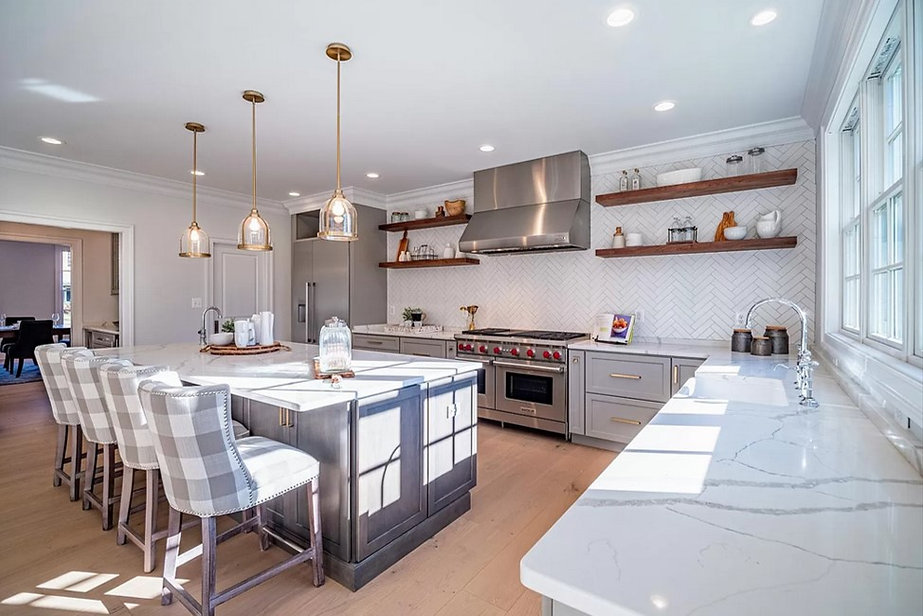 Open Concept White Kitchen with Walnut Wood Floating shelves