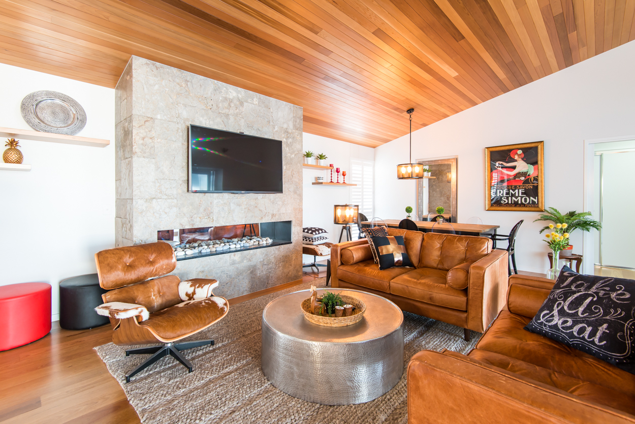 Leather and timber living area