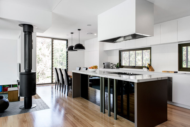 open plan kitchen with timber floor