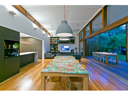 High ceiling above open plan living