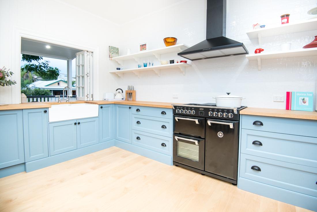Renovated blue kitchen