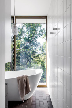 Bathtub with view of nature