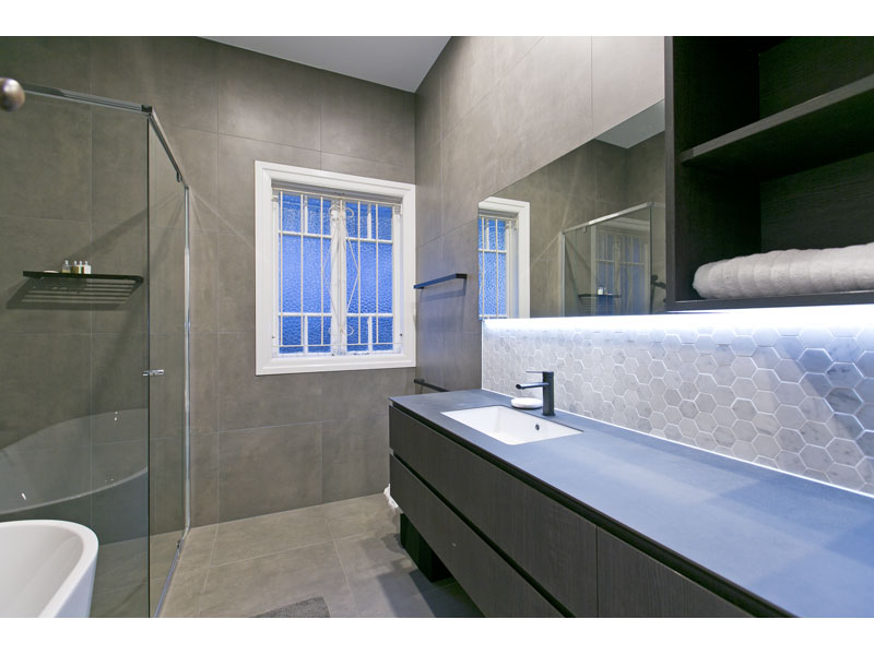 Grey, modern bathroom
