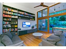 Bookshelf and Living area