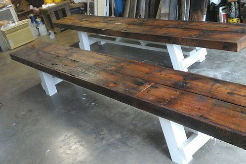 10ft farm table/ benches