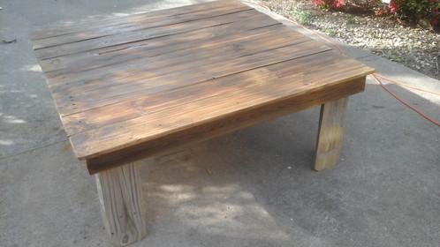 Patio/Coffee table. $ 150.00. Handmade reclaimed oak/cedar/hickory wood.  Heavy duty rustic style made locally