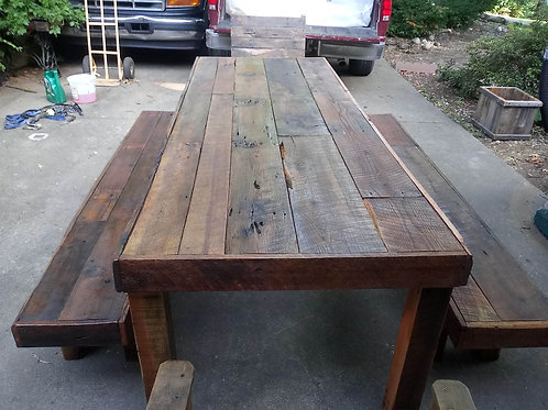 FARM TABLE / BENCHES / CHAIRS  8 FT