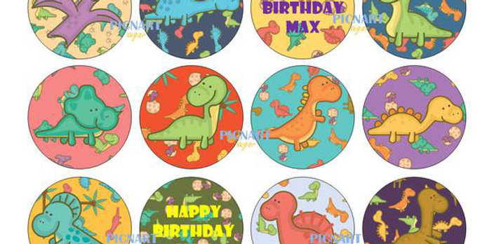 Personalised Dinosaur Edible Icing Paper Cupcake Toppers, Cake Topper