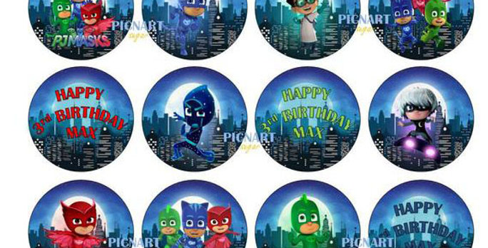 PJ Masks Cake Topper, PJ Masks Cup Cake Toppers. Edible Images, Icing Paper Topp