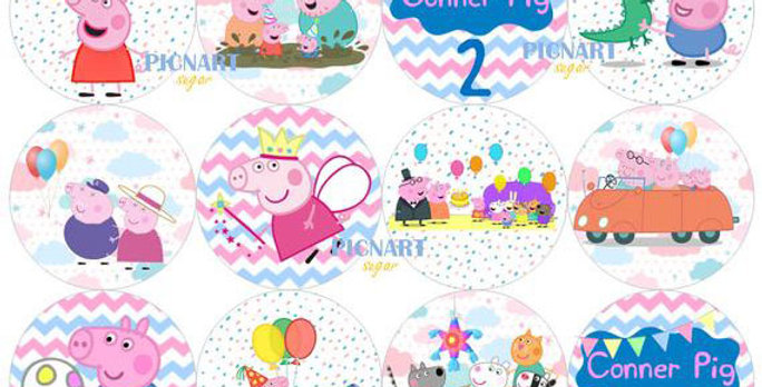 Personalised Peppa Pig Edible Pre Cut Icing Paper / Frosting Sheet Cupcake Toppe
