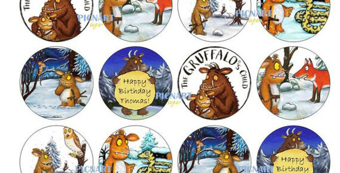 The Gruffalo's Child Inspired Edible Icing Paper Cupcake Toppers