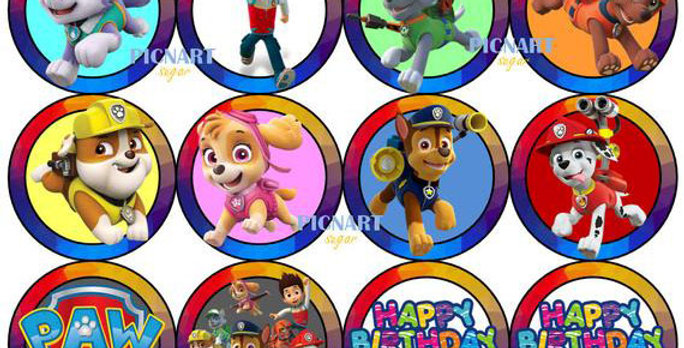 Personalised Paw Patrol Edible Pre Cut Icing Paper / Frosting Cupcake Toppers