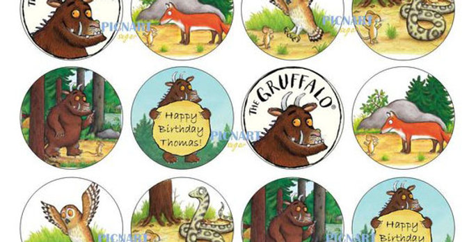 The Gruffalo Inspired Edible Icing Paper Cupcake Toppers